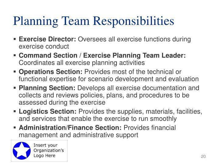 Planning Team Responsibilities