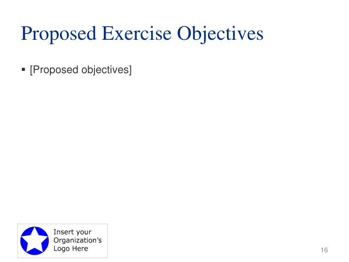 Proposed Exercise Objectives