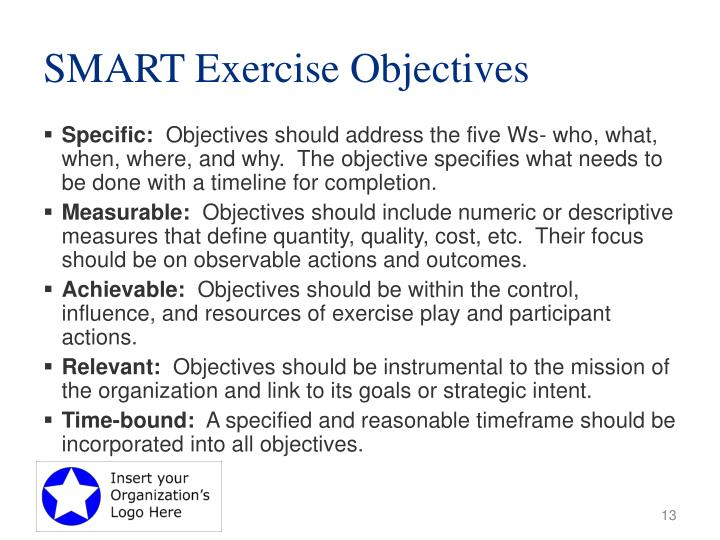 SMART Exercise Objectives
