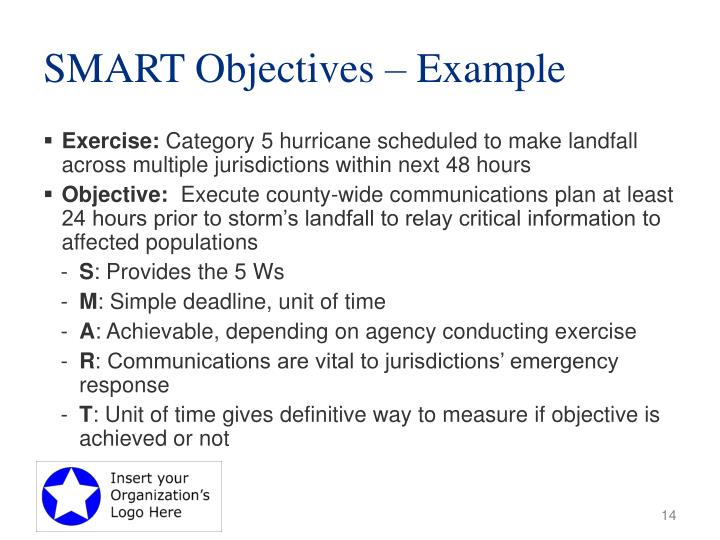 SMART Objectives – Example
