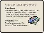 abc s of good objectives