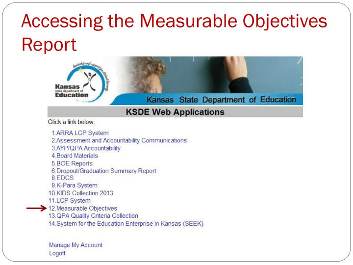 Accessing the Measurable Objectives Report