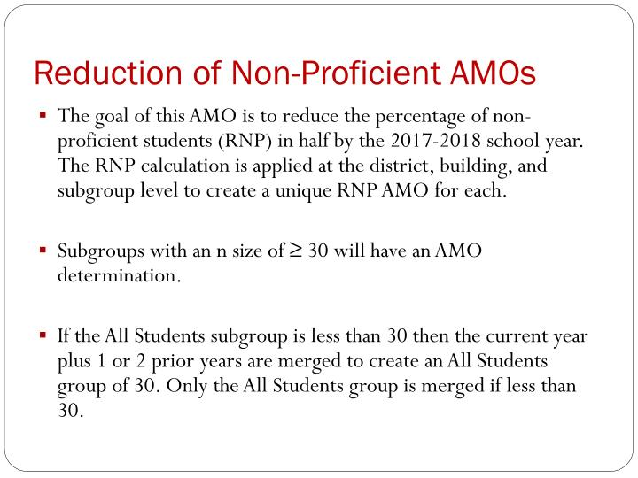 Reduction of Non-Proficient AMOs