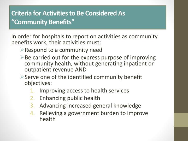 Criteria for Activities to Be Considered As