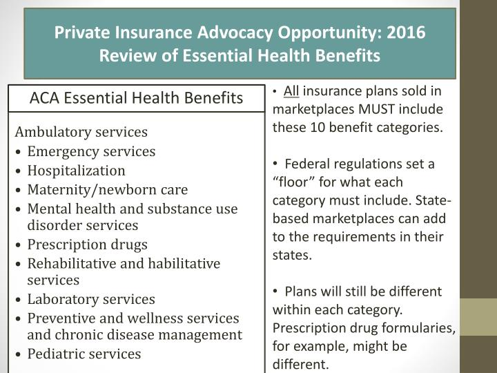 ACA Essential Health Benefits
