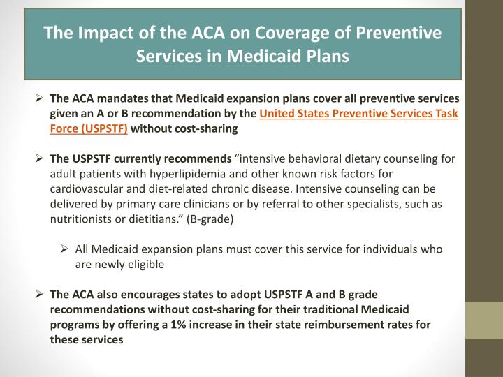The Impact of the ACA on Coverage of Preventive Services in Medicaid Plans