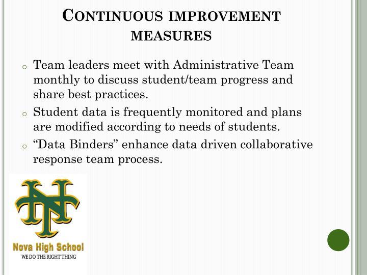 Continuous improvement measures