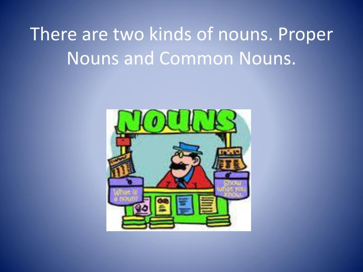 There are two kinds of nouns. Proper Nouns and Common Nouns.