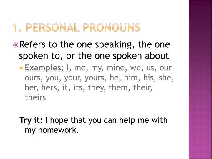 1. Personal Pronouns