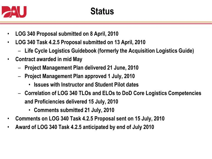 LOG 340 Proposal submitted on 8 April, 2010