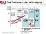 week one course lessons for reapplication