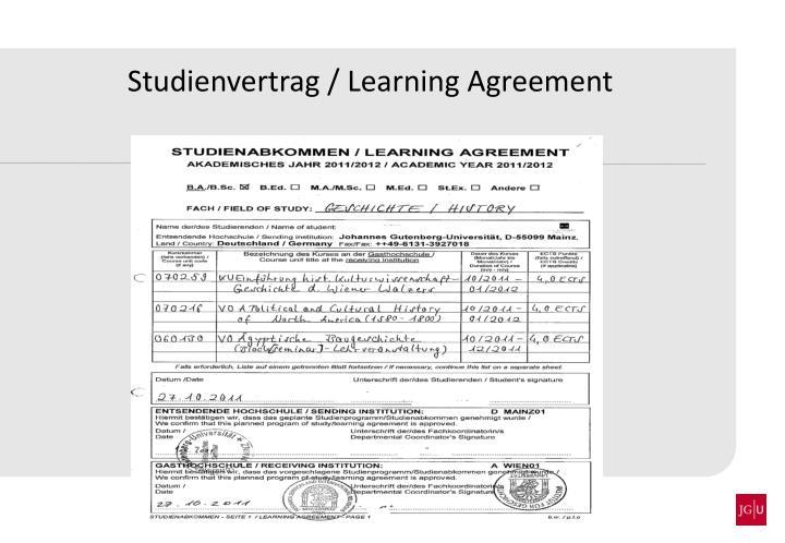 Studienvertrag / Learning Agreement