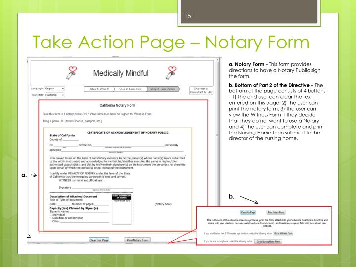 Take Action Page – Notary Form