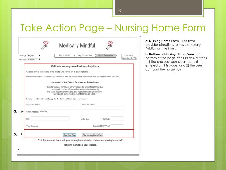 Take Action Page – Nursing Home Form