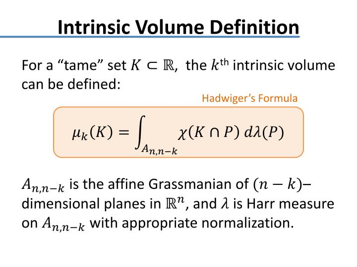 Intrinsic Volume Definition