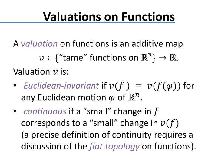 Valuations on Functions