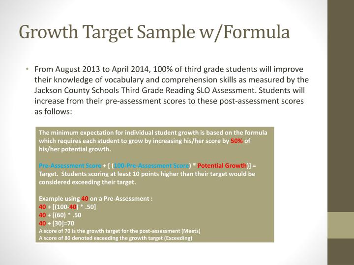 Growth Target Sample w/Formula