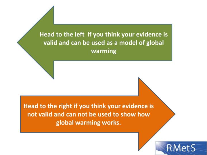 Head to the left  if you think your evidence is valid and can be used as a model of global warming