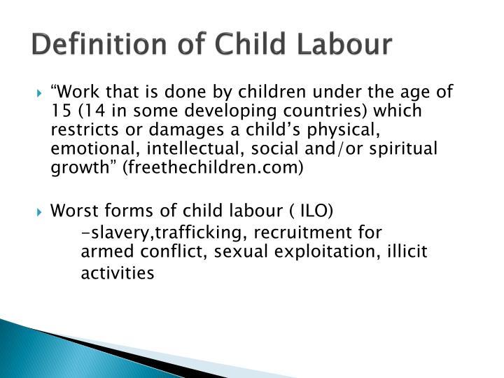 Definition of Child Labour