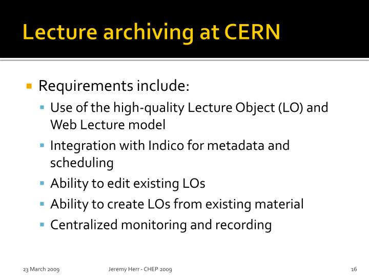 Lecture archiving at CERN