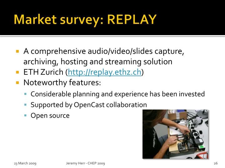 Market survey: REPLAY