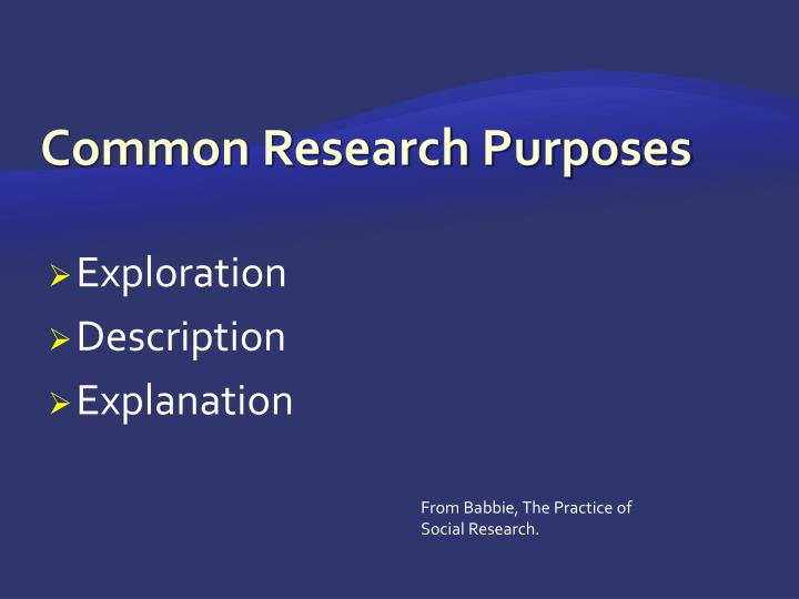 Common Research Purposes