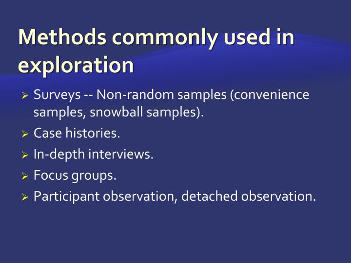 Methods commonly used in exploration