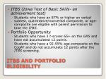 itbs and portfolio eligibility