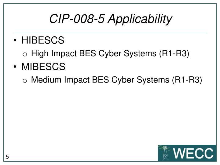 CIP-008-5 Applicability