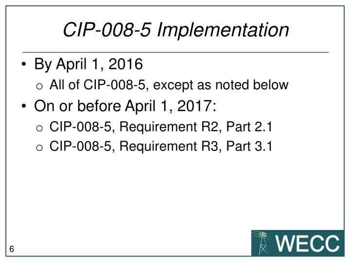 CIP-008-5 Implementation