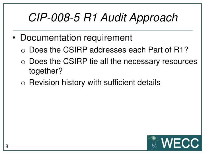 CIP-008-5 R1 Audit Approach