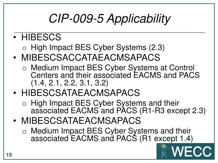 CIP-009-5 Applicability
