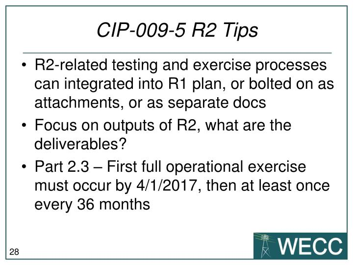 CIP-009-5 R2 Tips
