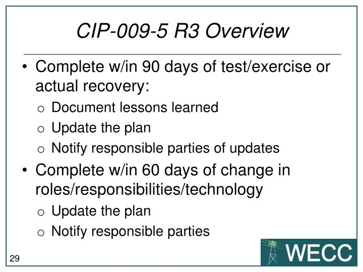 CIP-009-5 R3 Overview