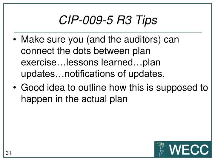 CIP-009-5 R3 Tips