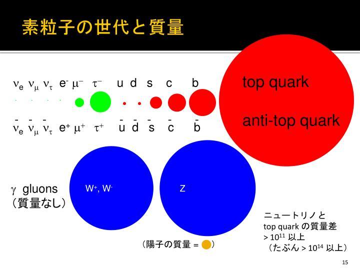 素粒子の世代と質量