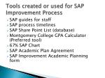 tools created or used for sap improvement process