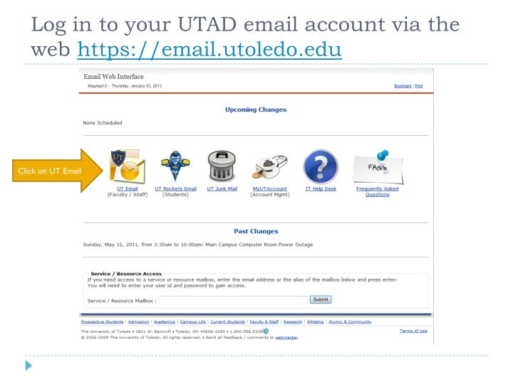 Log in to your utad email account via the web https email utoledo edu