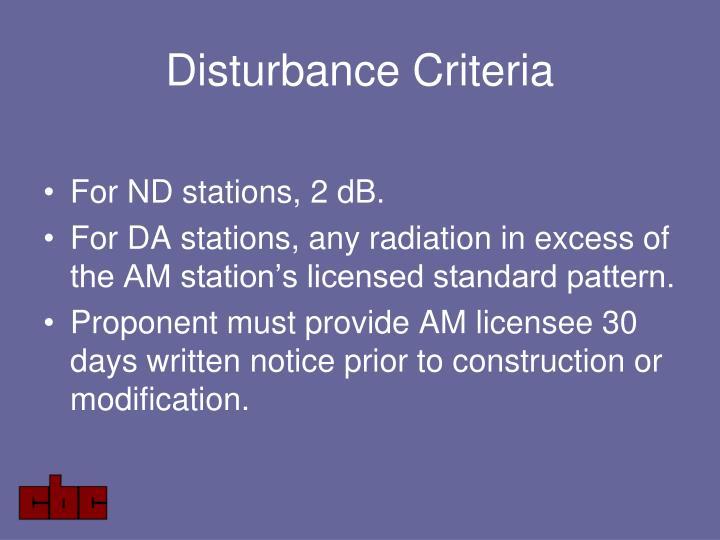 Disturbance Criteria