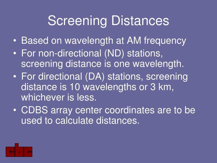 Screening Distances