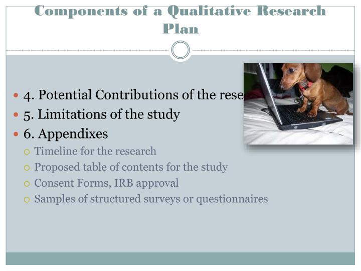 Components of a Qualitative Research Plan