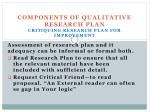 components of qualitative research plan critiquing research plan for improvement