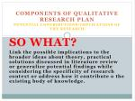 components of qualitative research plan potential contributions implications of the research