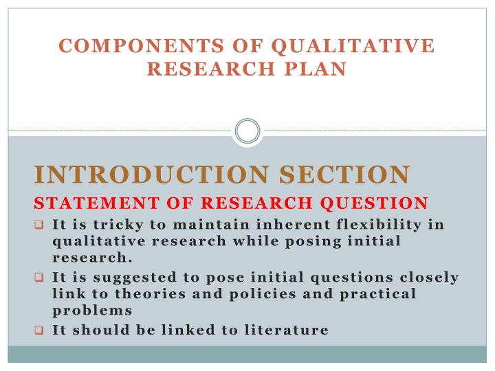 Components of Qualitative Research Plan