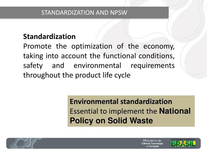 STANDARDIZATION AND NPSW