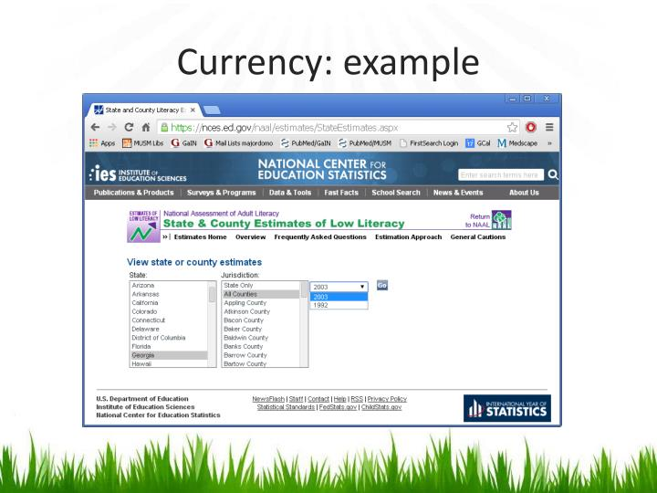Currency: example