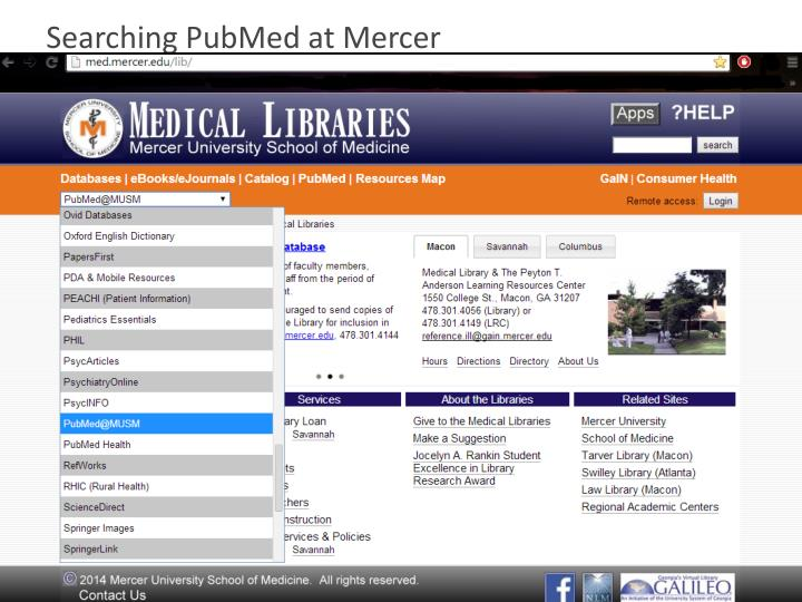 Searching PubMed at Mercer