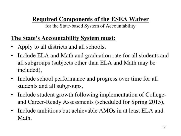 Required Components of the ESEA Waiver