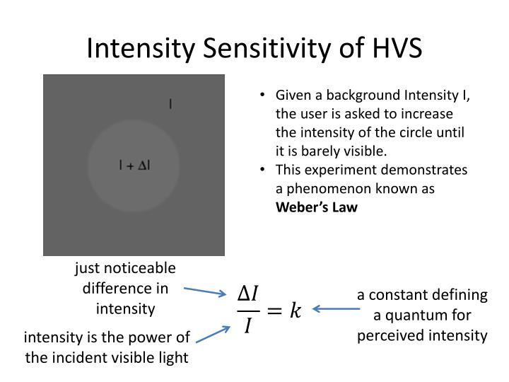 Intensity Sensitivity of HVS
