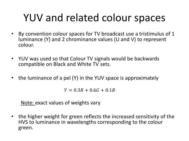 YUV and related colour spaces